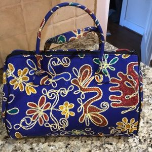 Handbags - Royal Blue Embroidered Look Bag